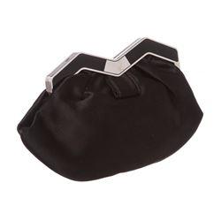 MCM Black Satin M Clutch Shoulder Bag