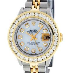 Rolex Ladies 2 Tone 14K MOP 2 ctw Diamond Datejust Wristwatch With Wooden Watch