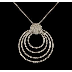 14KT White Gold 0.90 ctw Diamond Pendant With Chain