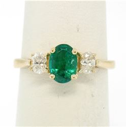14k Solid Yellow Gold 1.03 ctw Three Stone Prong Set Oval Emerald & Diamonds Rin