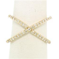 14k Yellow Gold 0.50 ctw Round Brilliant Diamond Simple X Ex Cross Band Ring