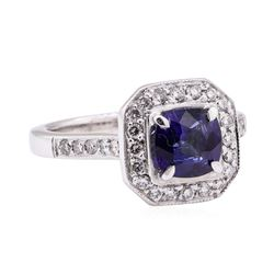 1.64 ctw Blue Sapphire And Diamond Ring - 14KT White Gold