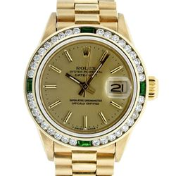 Rolex Ladies 18K Yellow Gold Emerald And Champagne Index President Wristwatch Wi