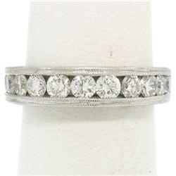 18k White Gold 1.64 ctw Channel & Pave Round BRILLIANT Diamond Milgrain Band Rin