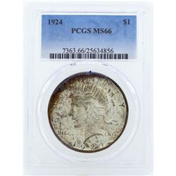1924 $1 Peace Silver Dollar Coin PCGS MS66