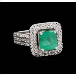 1.48 ctw Emerald and Diamond Ring - 14KT White Gold
