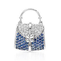 18k White Gold 1.10CTW Blue Sapphire and Diamond Pendant, (I1-I2/G-H/Blue)