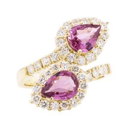 3.36 ctw Pink Sapphire and Diamond Ring - 14KT Yellow Gold
