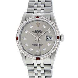 Rolex Mens Stainless Steel Gray Diamond & Ruby Datejust Wristwatch