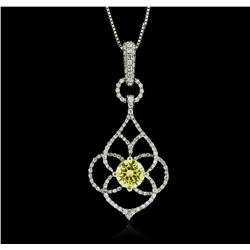 14-18KT White Gold 1.46 ctw Diamond Pendant With Chain