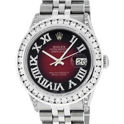 Rolex Mens Stainless Steel Red Vignette Roman Diamond Datejust Wristwatch With W