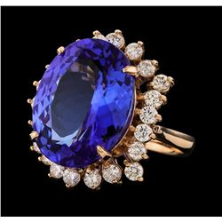 14.54 ctw Tanzanite and Diamond Ring - 14KT Rose Gold