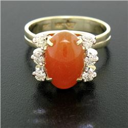 14K Two Tone Gold Oval Carnelian Solitaire Ring w/ Round Diamond Accents