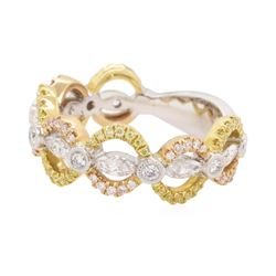 0.5 ctw Diamond Band - 18KT White, Yellow & Rose Gold