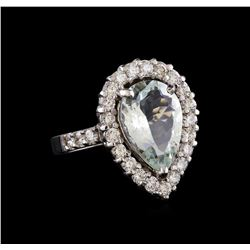 4.67 ctw Aquamarine and Diamond Ring - 14KT White Gold