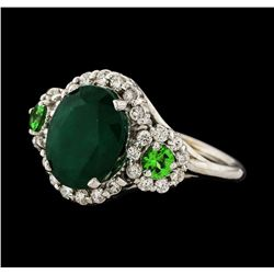 3.88 ctw Emerald, Tsavorite and Diamond Ring - 14KT White Gold