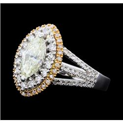 1.45 ctw Diamond Ring - 18KT Rose And White Gold