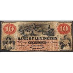 1860 $10 Bank of Lexington North Carolina Obsolete Note
