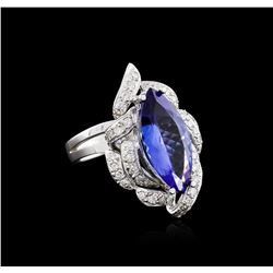 14KT White Gold 3.92 ctw Tanzanite and Diamond Ring