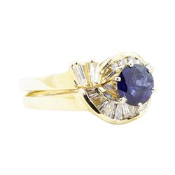 1.83 ctw Sapphire And Diamond Ring And Band - 14KT Yellow Gold