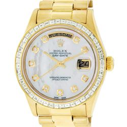 Rolex Mens 18K Yellow Gold 3.0 ctw Baguette Diamond Day Date President Wristwatc
