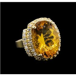 14KT Yellow Gold 11.17 ctw Citrine and Diamond Ring