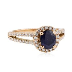 1.69 ctw Sapphire and Diamond Ring - 14KT Rose Gold