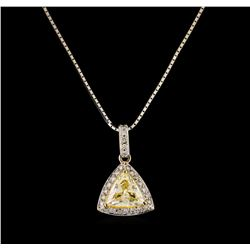 1.24 ctw Diamond Pendant With Chain - 18KT White Gold