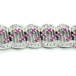 14k White Gold 3.02CTW Pink Sapphire and Diamond Bracelet, (I1-I2/G-H)