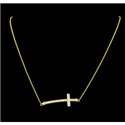 0.55 ctw Diamond Cross Necklace - 18KT Yellow Gold