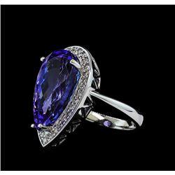 11.34 ctw Tanzanite and Diamond Ring - 14KT White Gold