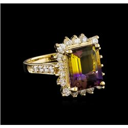 0.98 ctw Ametrine and Diamond Ring - 14KT Yellow Gold
