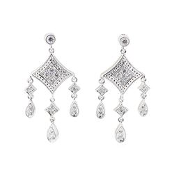 0.25 ctw Diamond Dangle Earrings - 14KT White Gold
