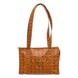 MCM Cognac Visetos Coated Canvas Leather Vintage Large Tote Bag