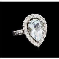 4.65 ctw Aquamarine and Diamond Ring - 14KT White Gold