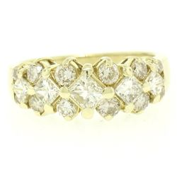 14K Yellow Gold 1.80 ctw H VS Princess & Round Cut Diamond Cluster Wide Band Rin
