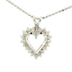 "14k White Gold 0.40 ctw Round Brilliant Diamond Open Heart Pendant 16"" Bead Chai"