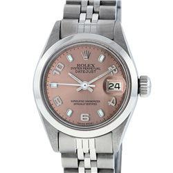 Rolex Ladies Stainless Steel Salmon Dial 26MM Datejust Wristwatch