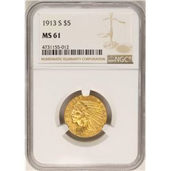 1913-S $5 Indian Head Half Eagle Gold Coin NGC MS61