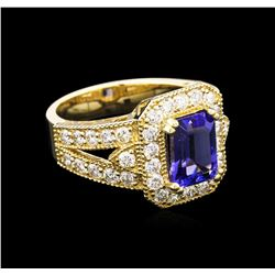 2.08 ctw Tanzanite and Diamond Ring - 14KT Yellow Gold