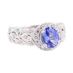 1.91 ctw Sapphire And Diamond Ring - 18KT White Gold