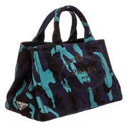 Prada Blue Purple Camo Canvas Medium Canapa Shopping Tote Bag