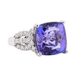 13.62 ctw Tanzanite and Diamond Ring - Platinum