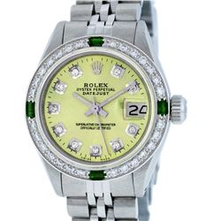 Rolex Ladies Stainless Steel Yellow Diamond & Emerald Datejust Wristwatch