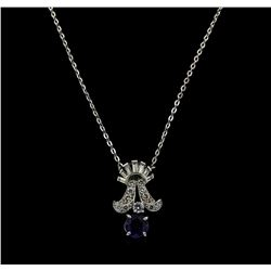 1.00 ctw Sapphire and Diamond Pendant With Chain - Platinum and 14KT White Gold