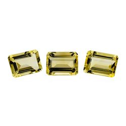22.78 ctw.Natural Emerald Cut Citrine Quartz Parcel of Three