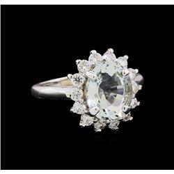 2.81 ctw Aquamarine and Diamond Ring - 14KT White Gold