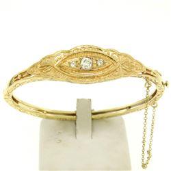 Hand Made 14k Yellow Gold 3 Old Mine Cut Diamond Open Bangle Bracelet