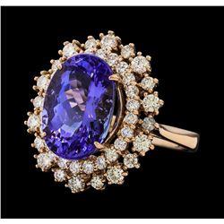 7.22 ctw Tanzanite and Diamond Ring - 14KT Rose Gold