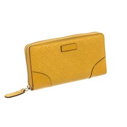 Gucci Yellow Diamante Coated Canvas Leather Zippy Wallet